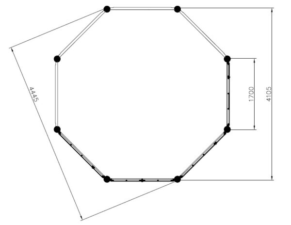 Octagonal summer house Seattle XL 14m² / 4,4 x 4,4 m / 55 mm