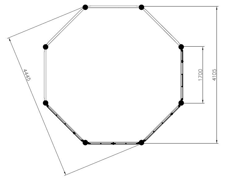 Octagonal summer house Seattle XL 14m² / 4,4 x 4,4 m / 55 mm