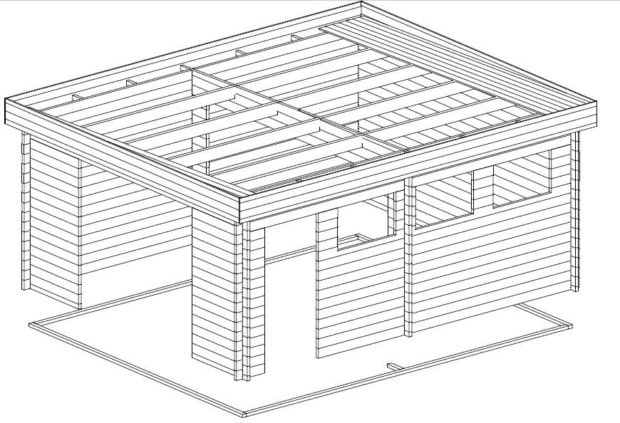 Garage Hansa D with Double Doors / 4,5 x 5,5 m / 44mm