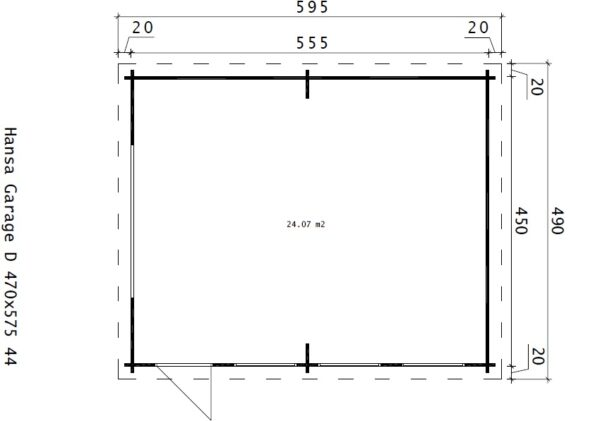 Garage Hansa D with Up and Over Door / 4,5 x 5,5 m / 44mm