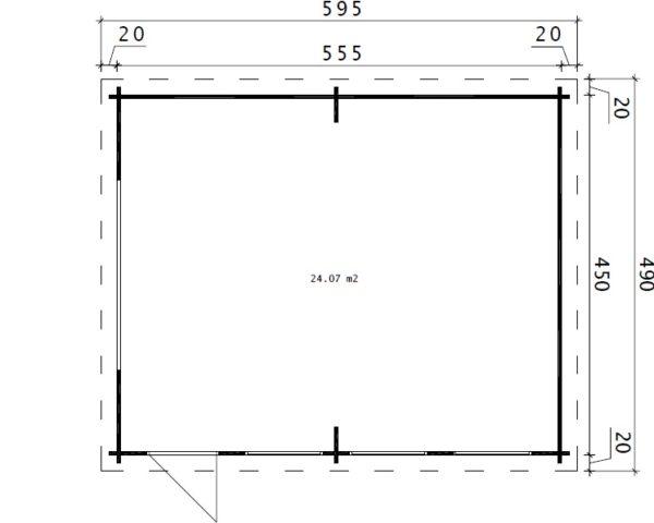 Garage Hansa D with Up and Over Door / 4,5 x 5,5 m / 44mm