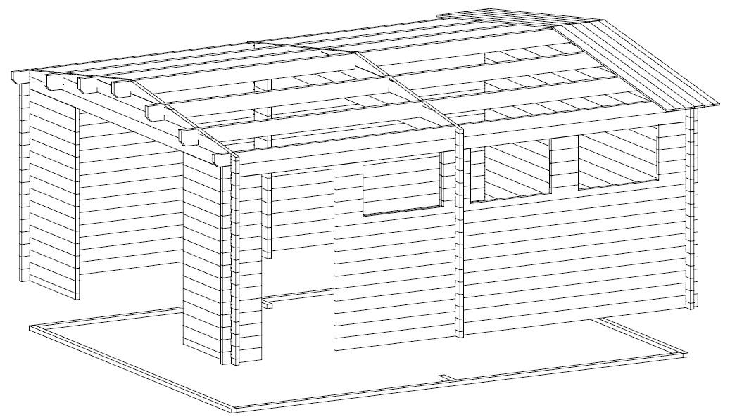 Garage Hansa B with Double Doors / 4,5 x 5,5 m / 44mm