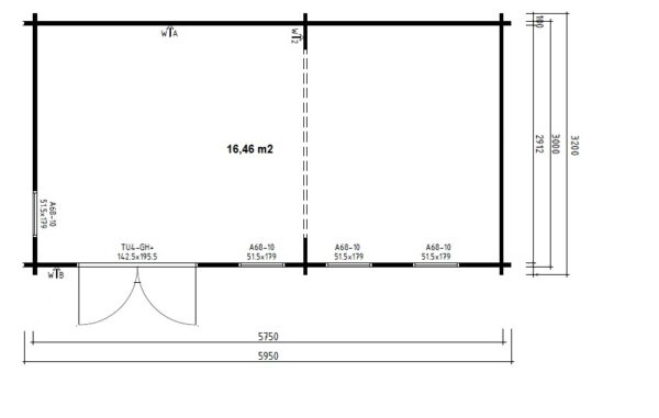 Garden Room Liam 16m2 / 3 x 6 m / 44mm
