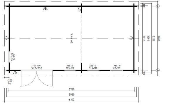 Garden Room Linda 16m2 / 3 x 6 m / 44mm