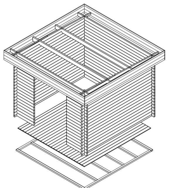Garden shed Lucas A 8,5m² / 3,2 x 3,2 m / 40mm
