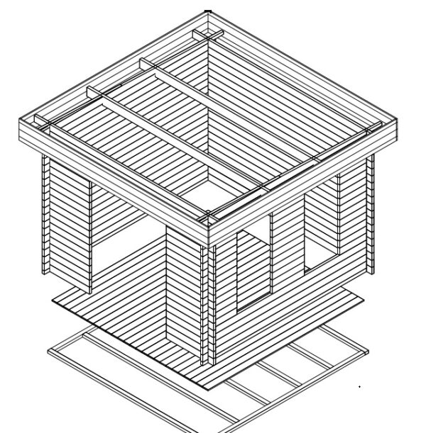 Summer house Lucas B 8,5m² / 3,2 x 3,2 m / 40mm
