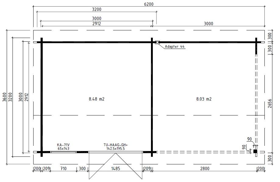 Garden Room Lucas D with Veranda 9m² / 44mm / 6 x 3 m