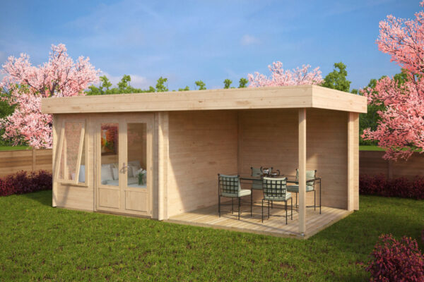 Garden Room Lucas D with Veranda 9m² / 44mm / 6 x 3 m