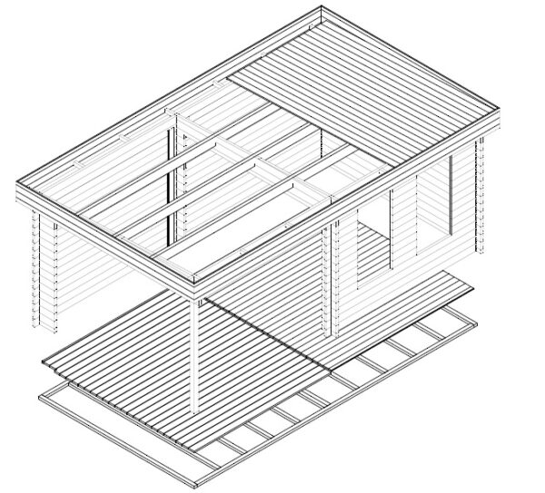Garden Room Lucas E with Canopy 9m² / 44mm / 3 x 3 m