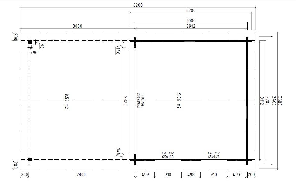 Garden Room Lucas E with Canopy 9m² / 44mm / 3 x 3 m