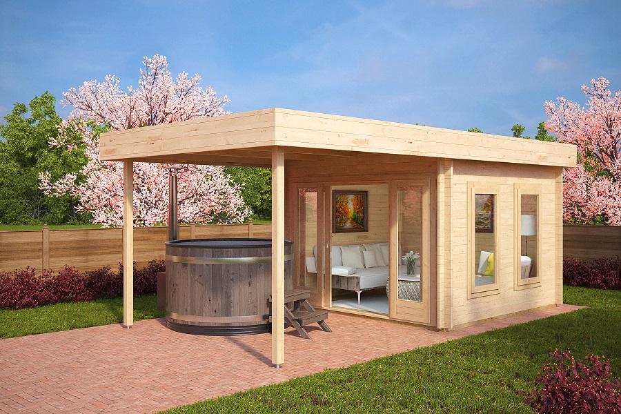 gartenhaus mit sonnendach lucas e 9m 44mm 3 x 3 m hansa gartenhaus. Black Bedroom Furniture Sets. Home Design Ideas