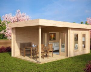 Garden Room Lucas E with Veranda 9m² / 44mm / 3 x 6 m