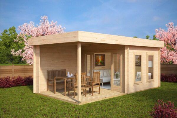 Garden Room Lucas E with Veranda 9m² / 44mm / 3 x 6 m