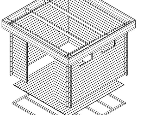 Garden shed Lucas F 8,5m² / 3,2 x 3,2 m / 40mm