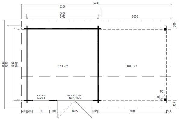 Garden Room Lucas D with Canopy 9m² / 44mm / 3 x 3 m
