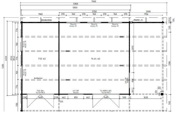 Summer house Hansa Lounge XXL with Storage Room 22m² / 44mm / 8 x 5 m