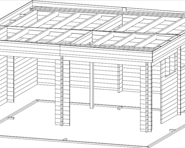 Double Garage F with Up and Over Doors / 5,7 x 5,5 m / 44mm