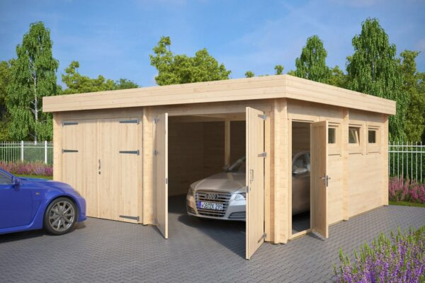 Double Garage F with Double Doors / 5,7 x 5,5 m / 44mm