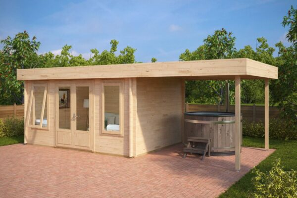 Summer House Jacob D with Canopy 12m² / 44mm / 4 x 3 m