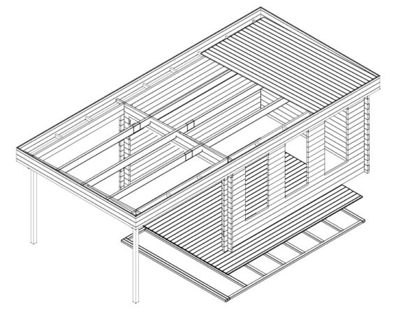 Summer House Jacob E with Canopy 12m² / 44mm / 4 x 3 m