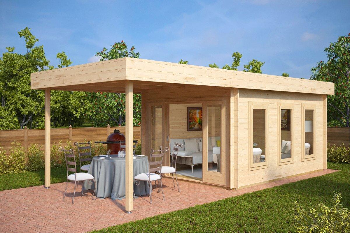 gartenhaus mit sonnendach jacob e 12m 44mm 4 x 3 m hansa gartenhaus. Black Bedroom Furniture Sets. Home Design Ideas