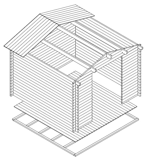 Garden shed Nora A 8,5m² / 3,2 x 3,2 m / 40mm