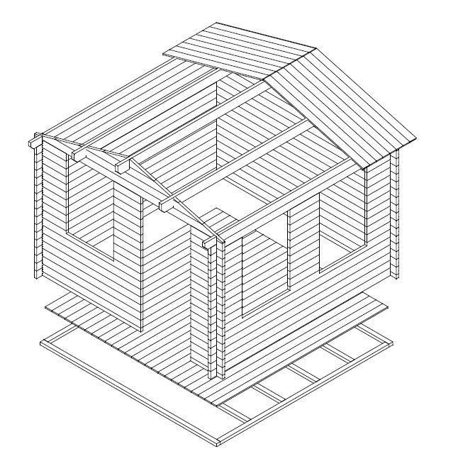 Summer house Nora C 8,5m² / 3,2 x 3,2 m / 40mm