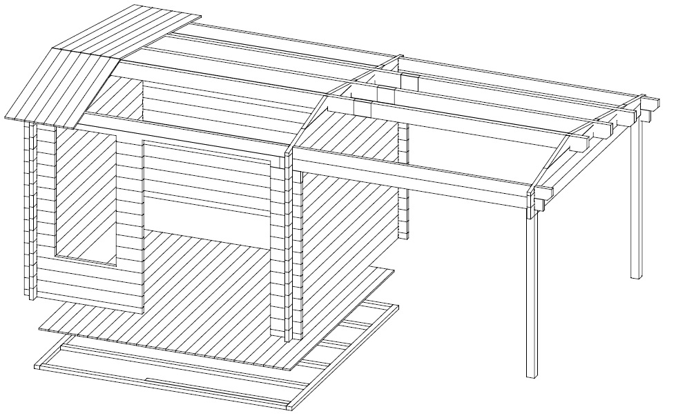 Summer house Nora D with canopy 8,5m² / 3,2 x 3,2 m / 44mm
