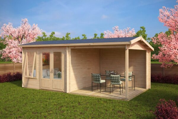 Summer house Nora D with veranda 8,5m² / 3,2 x 3,2 m / 44mm