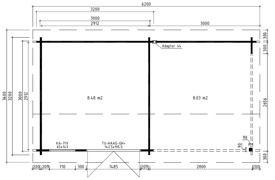 Summer house Nora D with veranda 8,5m² / 3,2 x 3,2 m / 44mm