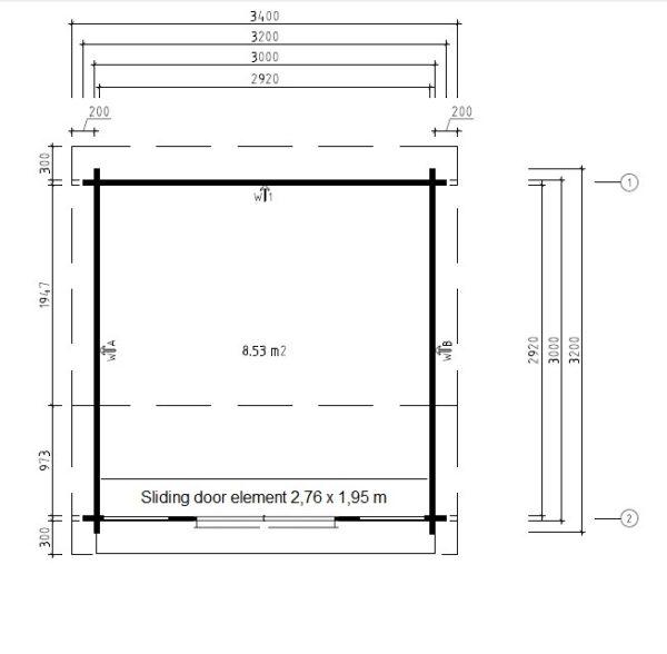 Summer house Nora E 8,5m² / 3,2 x 3,2 m / 44mm