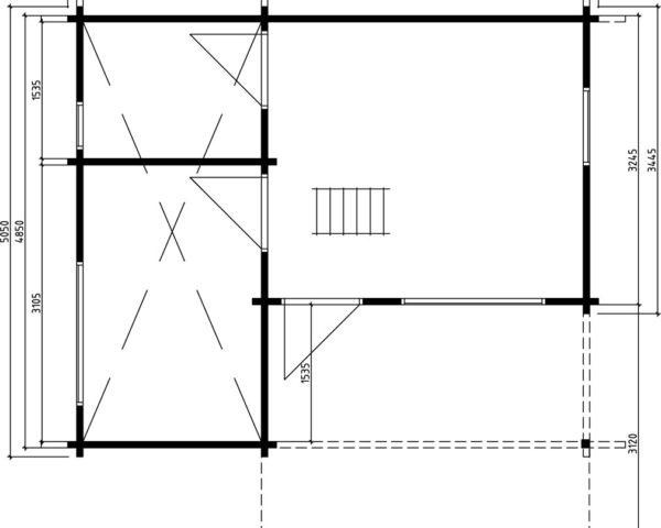 Log cabin London 26,4m² / 6 x 5 m / 70mm