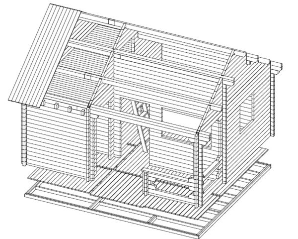 Big garden sauna Karina 26,5m² / 5,9 x 5 m / 70mm