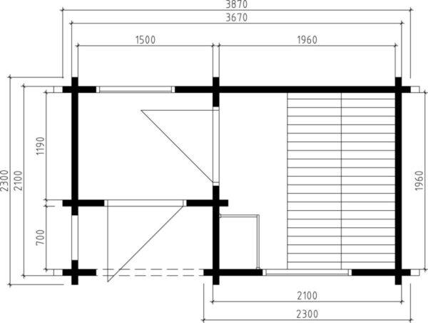 Garden sauna cabin Lisette 7m² / 2,3 x 3,9 m / 70mm