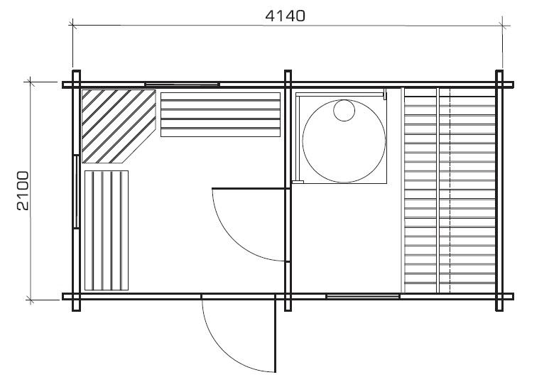 Garden sauna cabin Matti 8m² / 2 x 4 m / 58mm