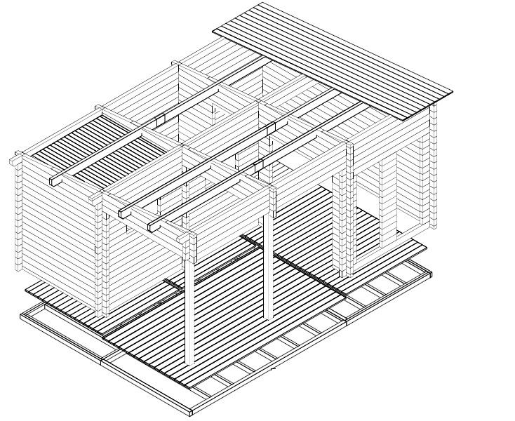 Sauna Cabin Oliver I 15m² / 70mm / 6 x 4 m
