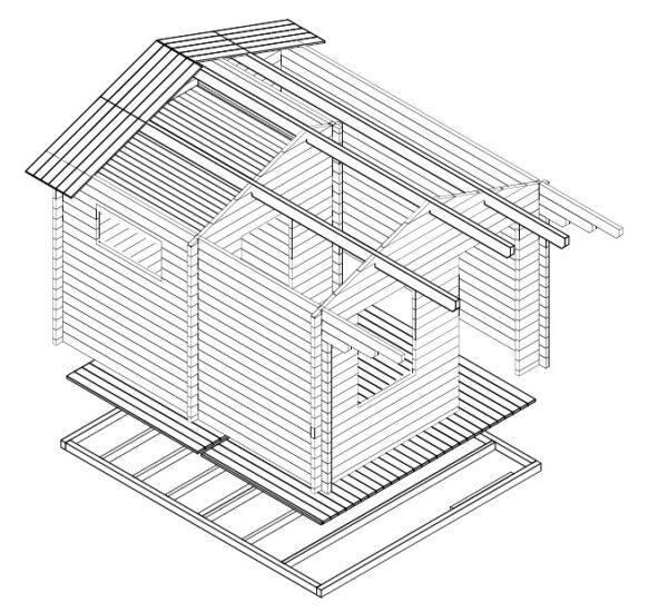 Garden sauna cabin Oslo 12,5m² / 3,5 x 4,1 m / 50mm