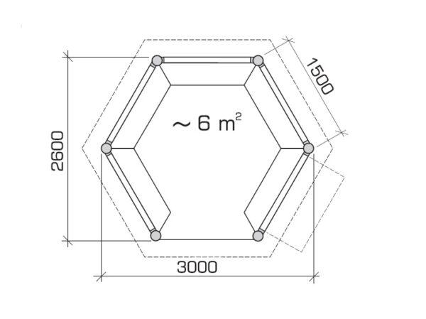 Hexagonal summer house Festival S 6m² / 3 x 3m / 21mm