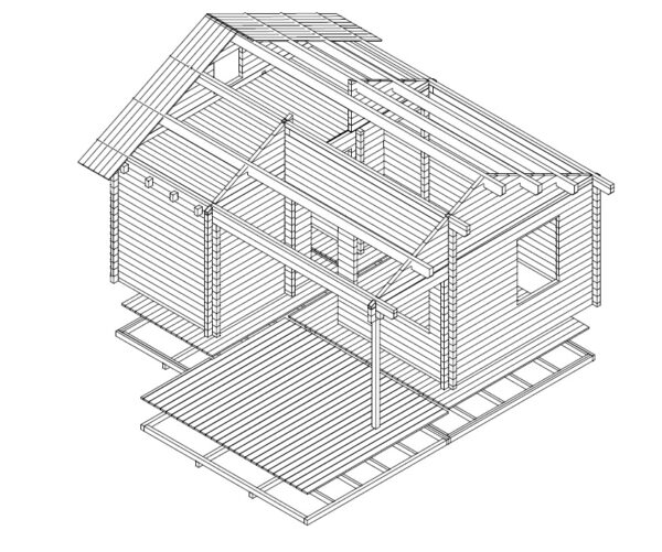 Log cabin London 26,4m² / 6 x 5 m / 70mm