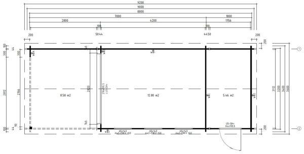 Summer House with Veranda and Shed Super Eva E 18 m2 / 9 x 3 m / 44 mm