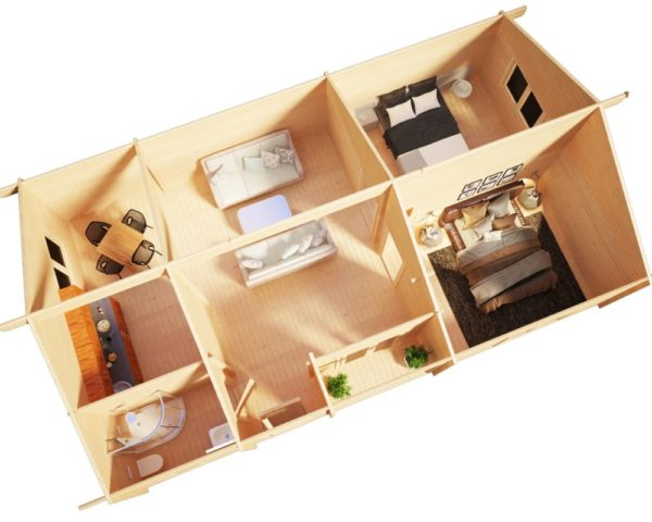 Two Bedroom Residential Cabin Dune 70m2 / 70mm / 12 x 6 m