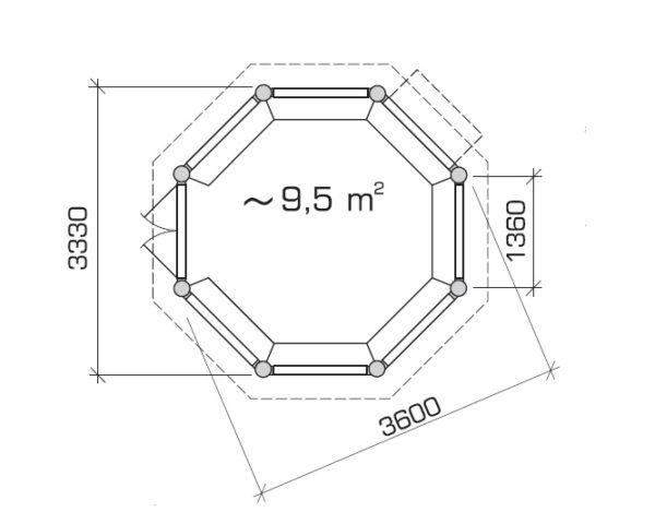 Wooden gazebo Elizabeth L 9m² / 3,6 x 3,6 m