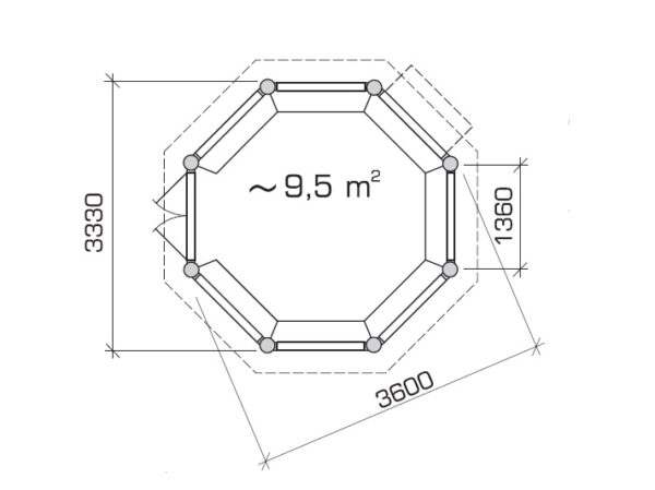 Octagonal summer house Seattle L 9,5m² / 3,6 x 3,6m / 55mm