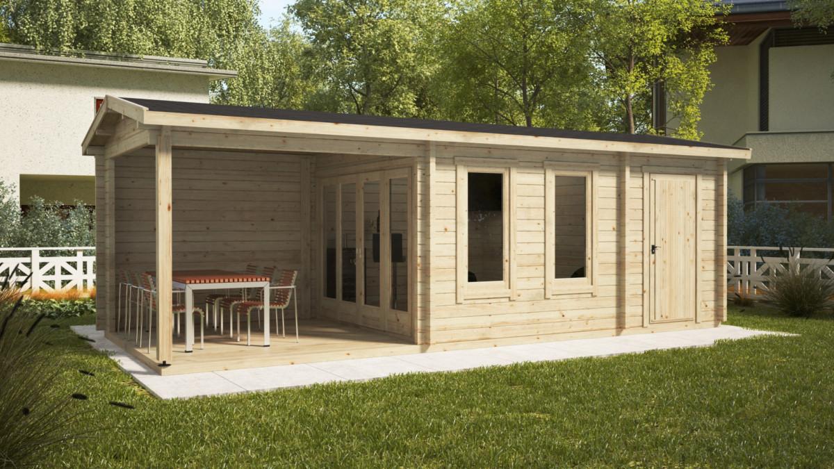 gartenhaus mit schuppen super nora e 15 m2 8 x 3 m 44 mm hansa gartenhaus. Black Bedroom Furniture Sets. Home Design Ideas