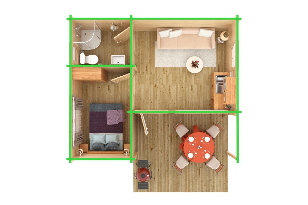 3 Zimmer Holzhaus Oscar 21m2 70mm 6x5 Hansa Gartenhaus