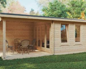 Gartenhaus mit Terrasse Nora E 9m² / 44mm / 3×6