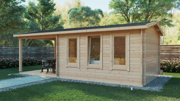 Gartenhaus mit Terrasse Eva E 12m² / 44mm / 3x7