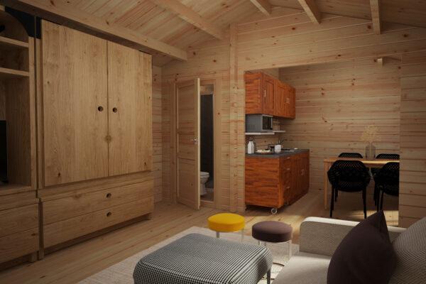 Blockhaus mit Badezimmer Schweden A 23m2 / 6 x 4 m / 70mm innenraum