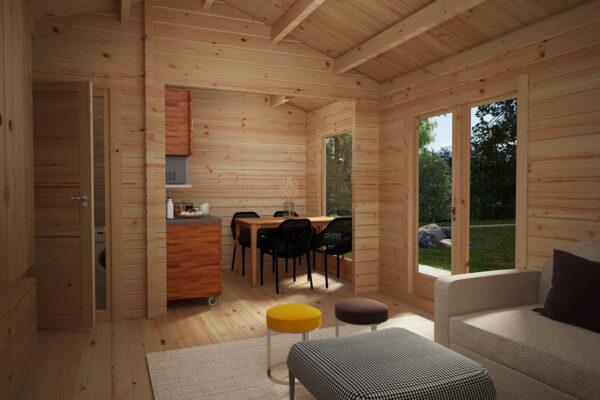 Blockhaus mit Badezimmer Schweden A 23m2 / 6 x 4 m / 70mm