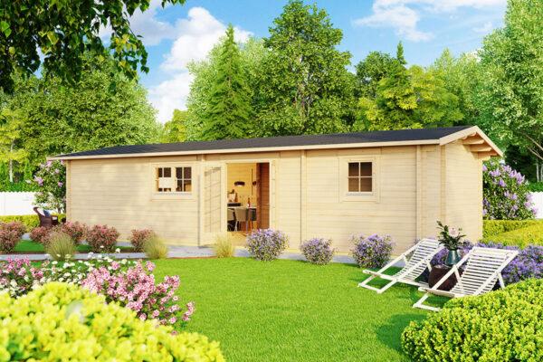 """Holzhaus """"Murcia"""" – 2 Schlafzimmer - 47 m2 / 11 x 4,5 m /"""